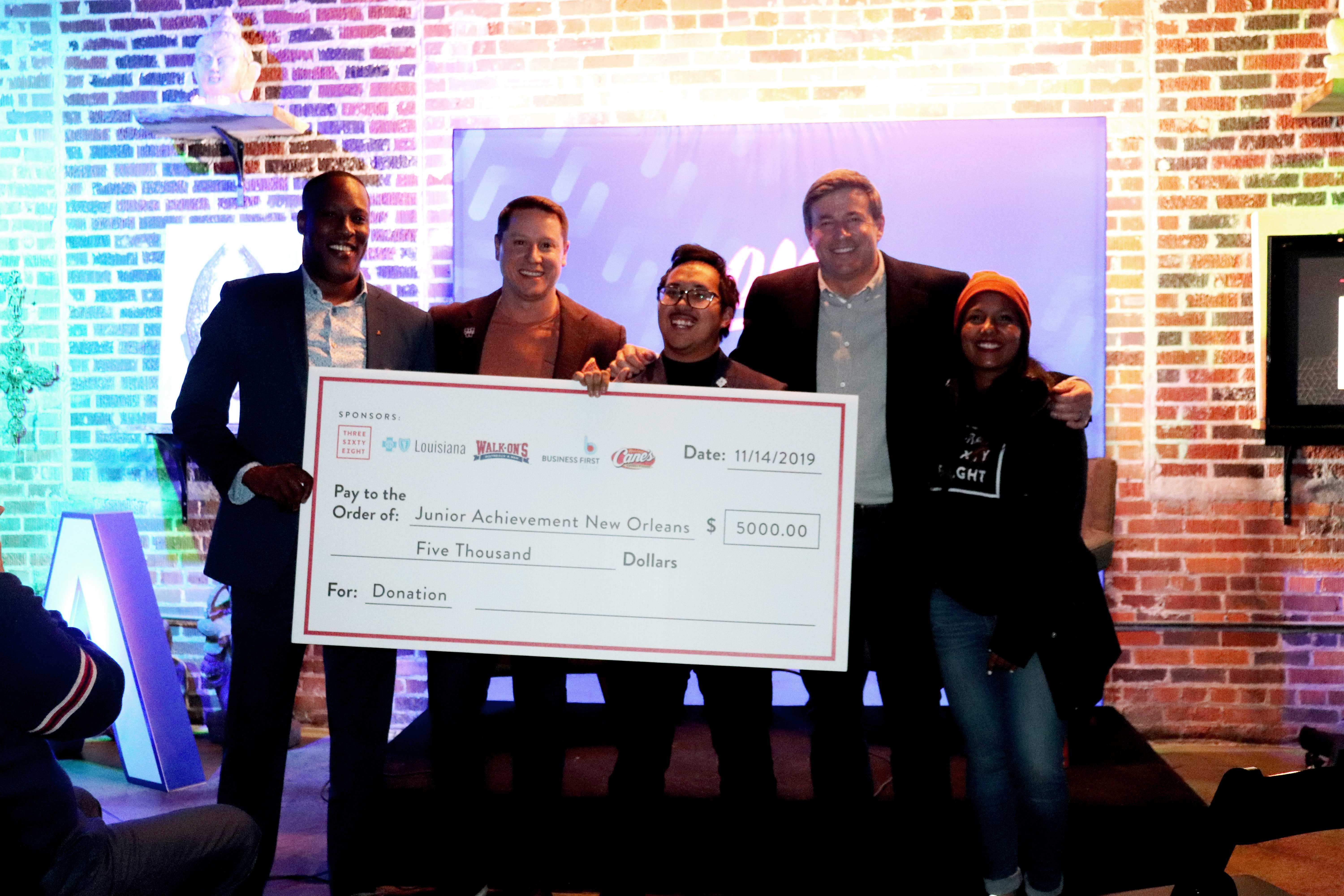 Check for $5,000 for the Junior Achievement of Greater New Orleans's Trust Your Crazy Ideas Competition