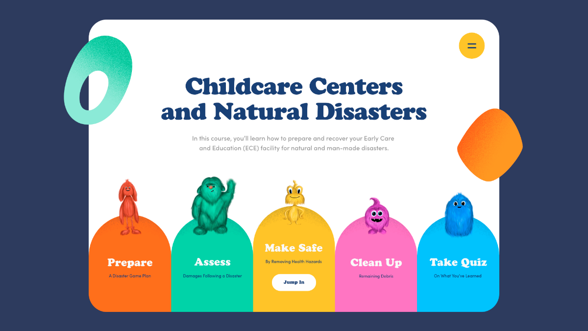"Home lander of the LDH Hazards training website. Includes title, ""Childcare Centers and Natural Disasters,"" and 5 colorful monsters leading to each learning module."